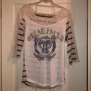 Free People striped lace 3/4 baseball tee